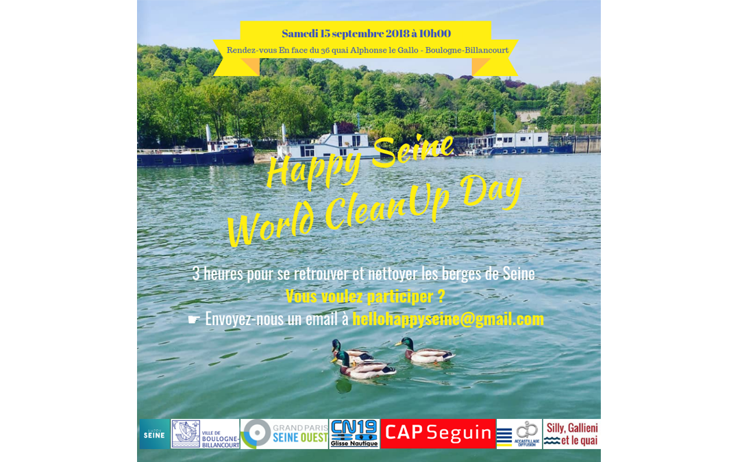 Happy Seine s'associe au World Clean Up Day  : samedi 15 septembre à 10h00